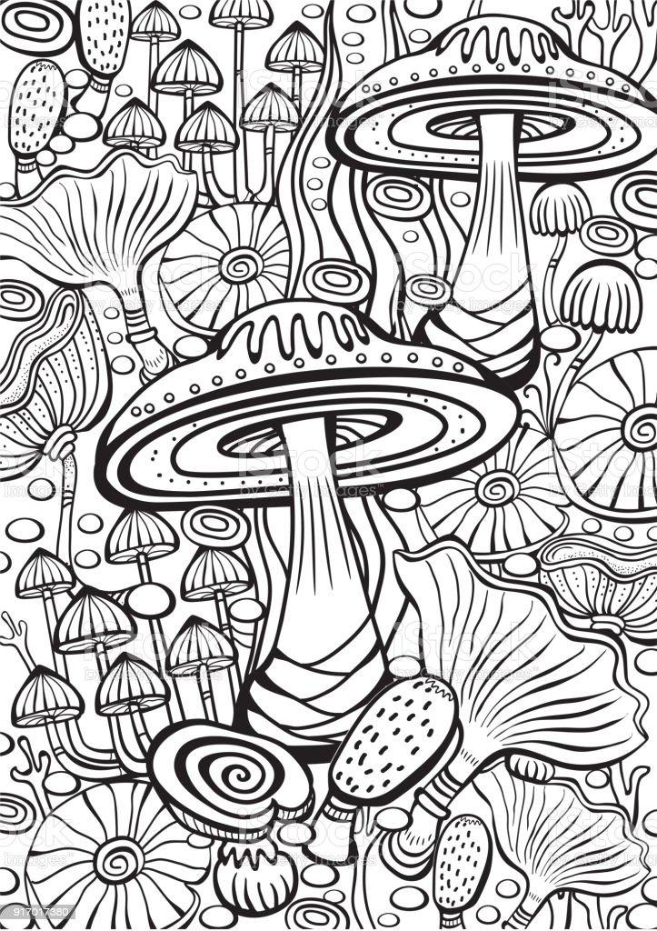 Ilustración de Página Del Libro De Setas Para Colorear Antiestrés y ...