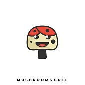 Mushrooms Cute Illustration Vector Template. Suitable for Creative Industry, Multimedia, entertainment, Educations, Shop, and any related business.