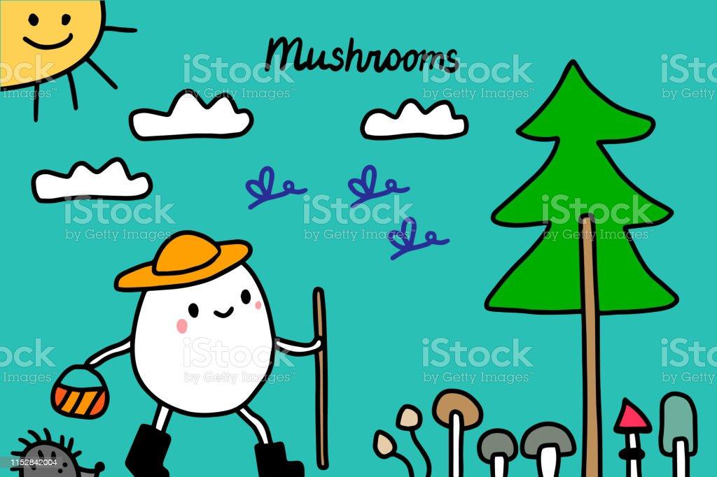 Mushrooms Hand Drawn Vector Illustration Cute Cartoon Men