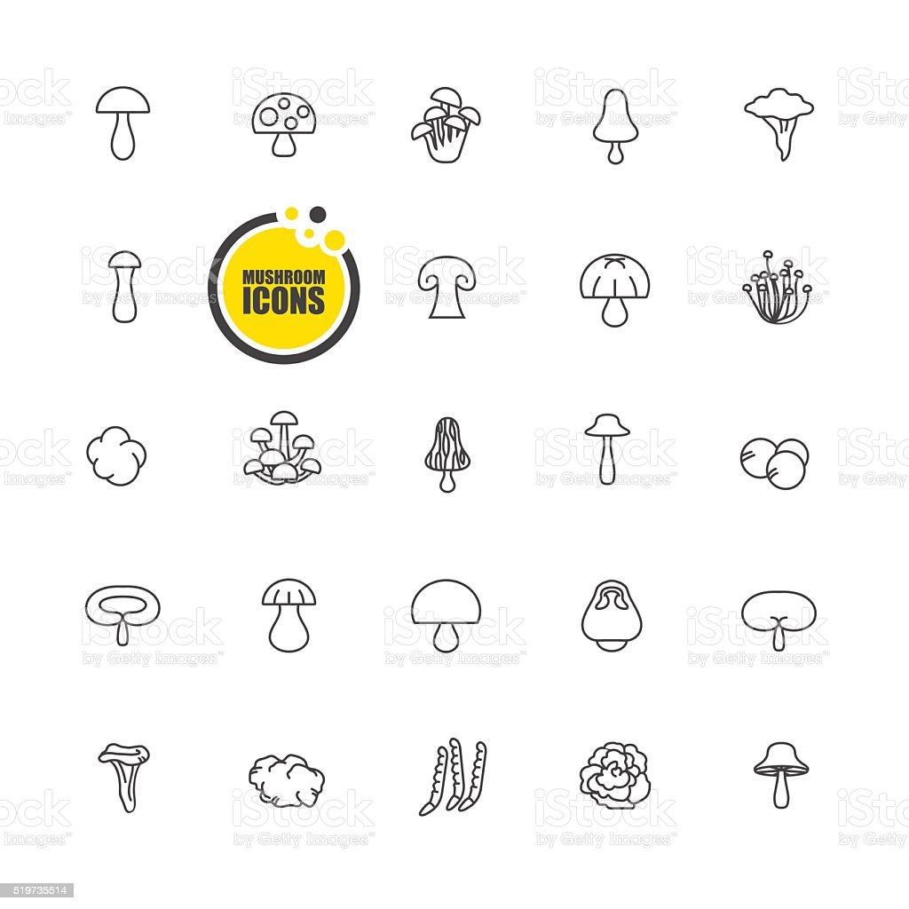 mushrooms icon vector art illustration