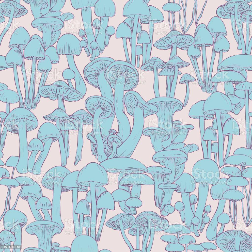 蘑菇無縫花紋壁紙線例證藍色蘑菇在粉紅色背景向量圖形及更多具有特定質地圖片 Istock