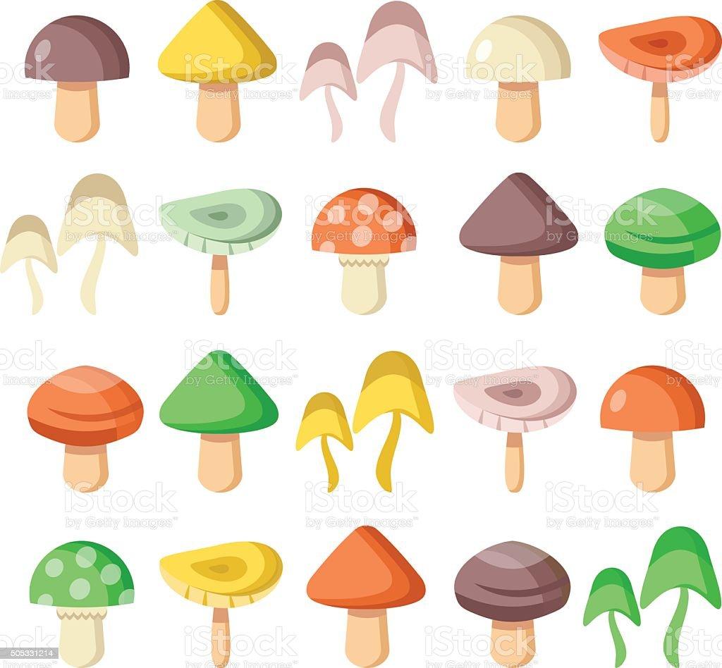 Mushrooms vector flat icons set vector art illustration