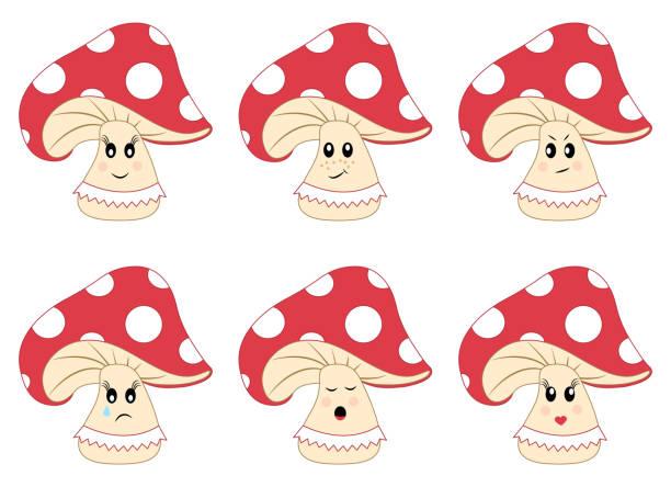 illustrazioni stock, clip art, cartoni animati e icone di tendenza di mushrooms vector set. amanita with emotions. vector illustration - deadly sings