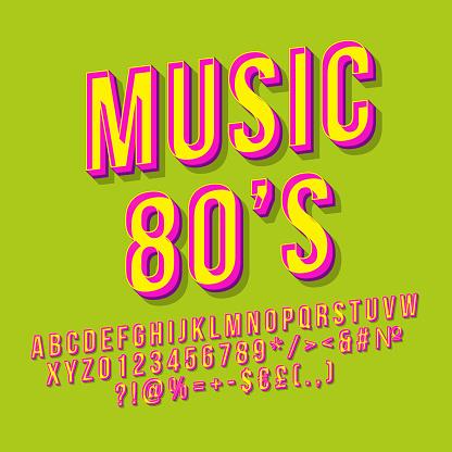 Music 80s 3d vector lettering
