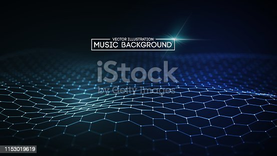 istock Music abstract background blue. Equalizer for music, showing sound waves with music waves, music background equalizer vector concept. 1153019619