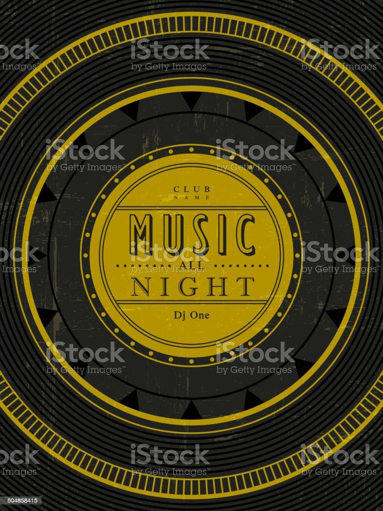 music all night poster vector art illustration