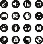 Music and Audio Icons Black Circle Series Vector EPS10 File.