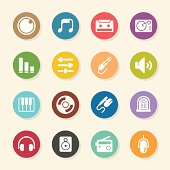 Music and Audio Icons Color Circle Series Vector EPS10 File.