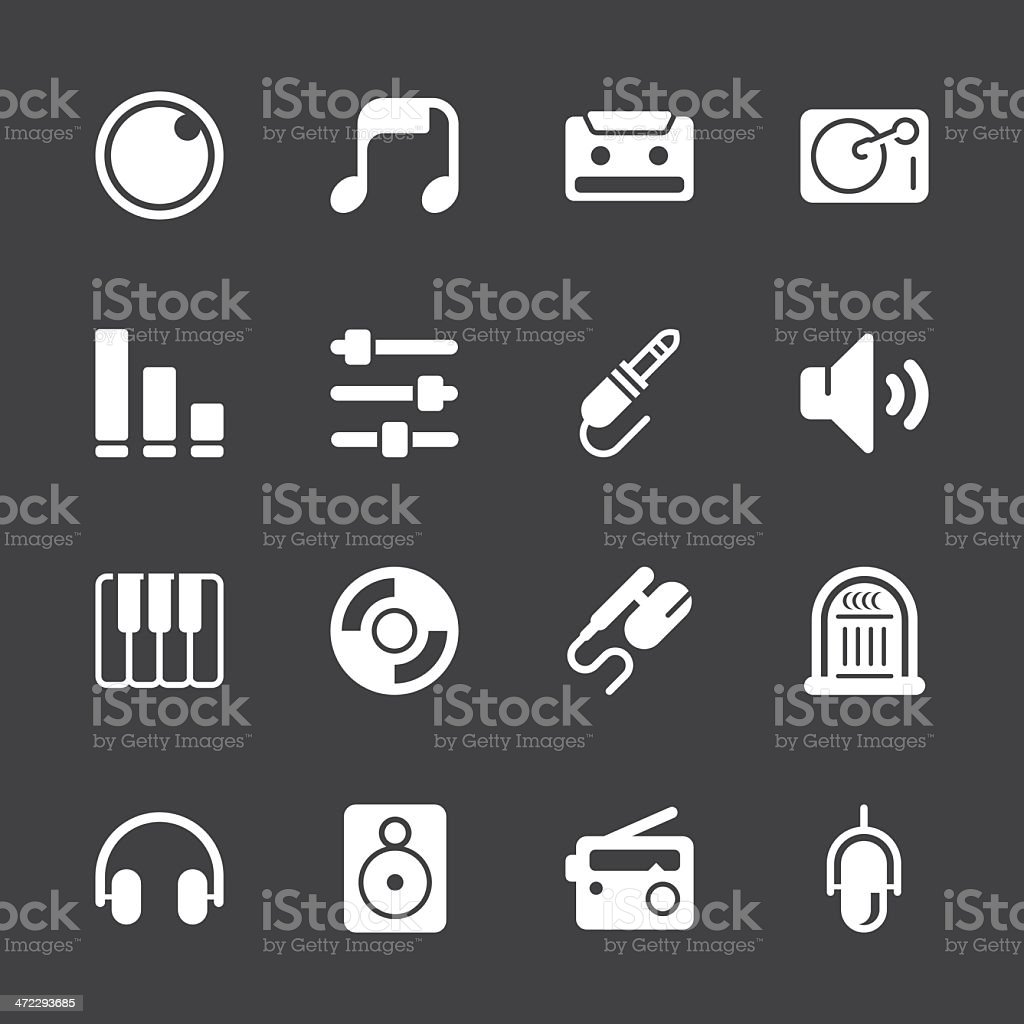 Music and Audio Icons - White Series | EPS10 royalty-free stock vector art