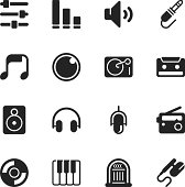 Music and Audio Silhouette Vector File Icons.