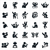 A collection of music, dance and singing icons. The icons include dancers, singers, drummer, guitarist, musicians, band, concert, microphones, listening to headphones, DJ and other music related themes.