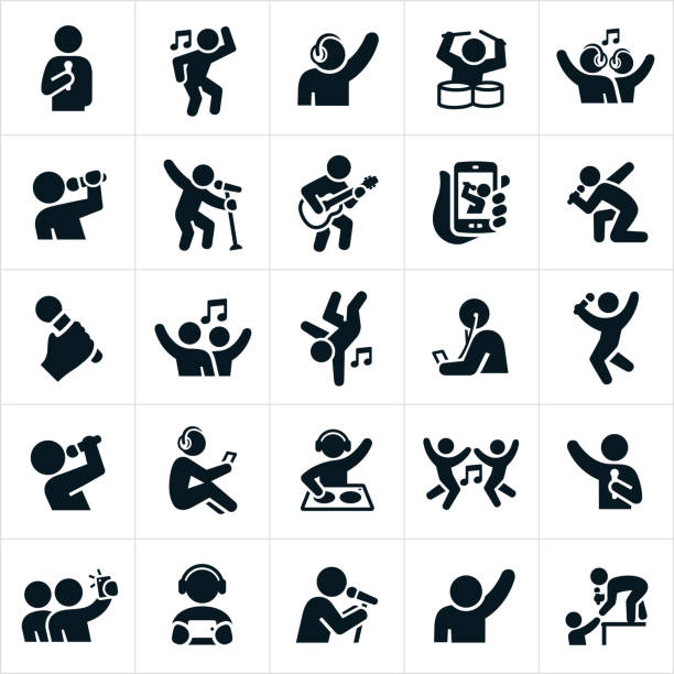 Music and Dance Icons vector art illustration