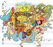 A bright and colorful hand-drawn doodle of a party on the beach. Young people and their musical instruments. Music, dance and fun, even the sun and the waves are joining in. After all, it's summer! Enjoy!