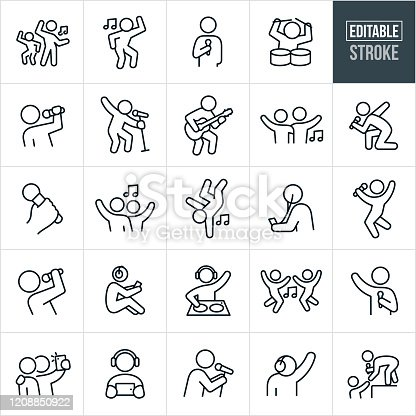 A set of music and dance icons that include editable strokes or outlines using the EPS vector file. The icons include people dancing to music, person singing into microphone, person drumming, musician playing a guitar, musician rocking out while singing, hand holding a microphone, person breakdancing to music, person listening to music device, person with headphones on listening to music, DJ at a turntable, person taking a selfie, person listening to music on mobile device, and a singer at a concert reaching down from stage to a fans outstretched hand.