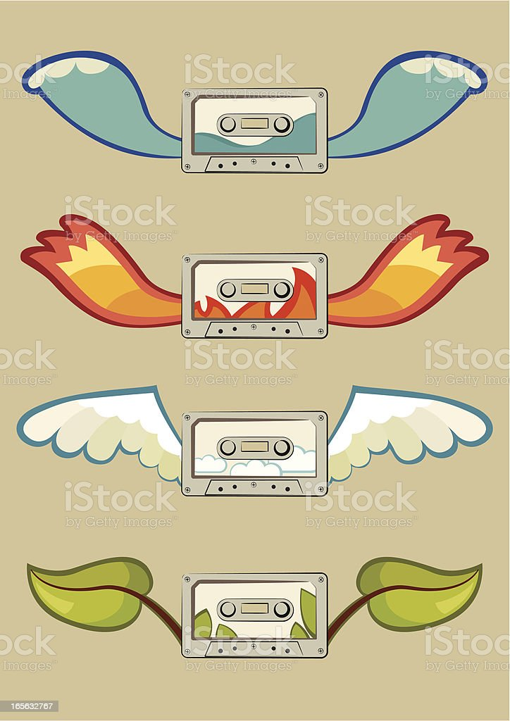 Music and four elements royalty-free stock vector art
