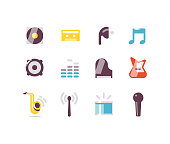 Music and Instrument icons including earbuds, piano, guitar, mic, saxophone