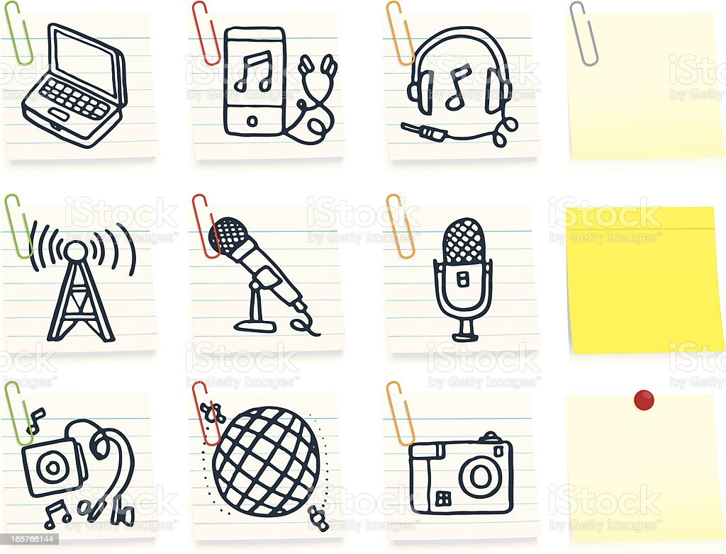 Music and media post it note icons royalty-free stock vector art