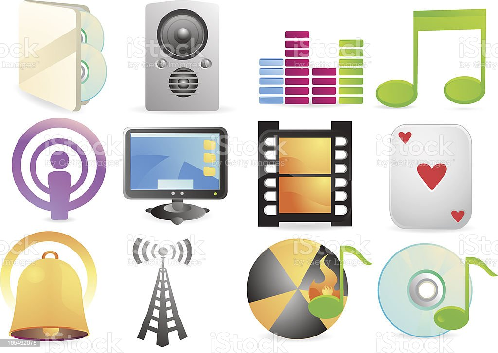 Music and Movie Internet Icons vector art illustration