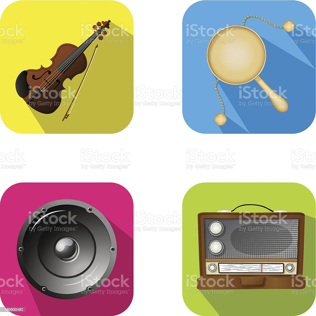 Music and party apps icons royalty-free stock vector art