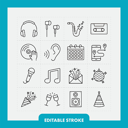 Music and party line icon set. Editable Stroke