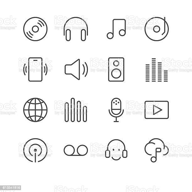 Music And Sounds Icons Set 1 Black Line Series Stock