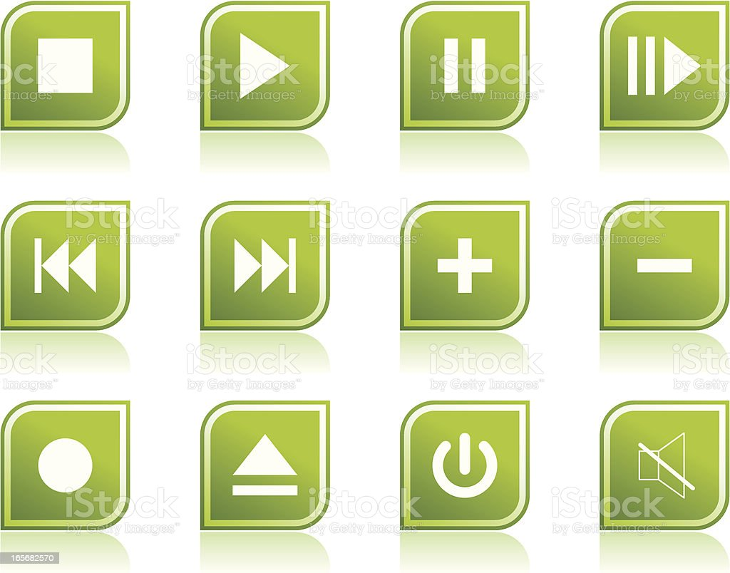 Music And Video Icon Symbols In Modern Green Leaf Shape Stock Vector
