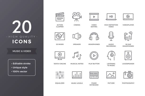 Music and Video Line Icons Music and video icons. Vector audio, cinema and multimedia icon set with editable stroke studio stock illustrations