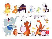 istock Music animals. Musician play instruments, forest dwellers with sax tambourine violin drum. Cartoon lion fox bunny decent vector characters 1291599067