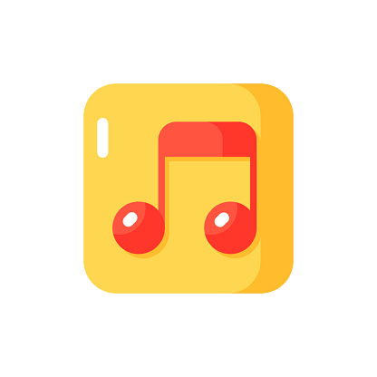 Music app vector flat color icon