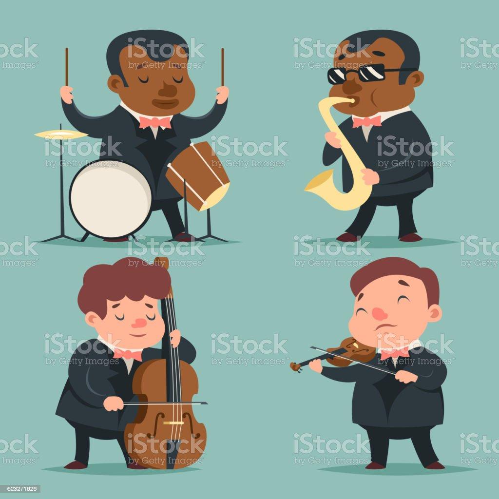 Music Artist Player Concept Character Icons Set Cartoon Design Template vector art illustration