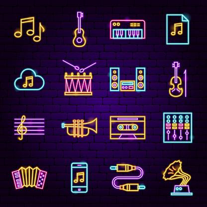 Music Audio Neon Icons