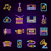 Music Audio Neon Icons. Vector Illustration of Sing Symbols.