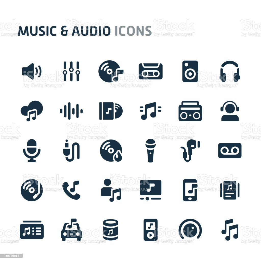 Simple bold vector icons related to music and audio objects. Symbols...