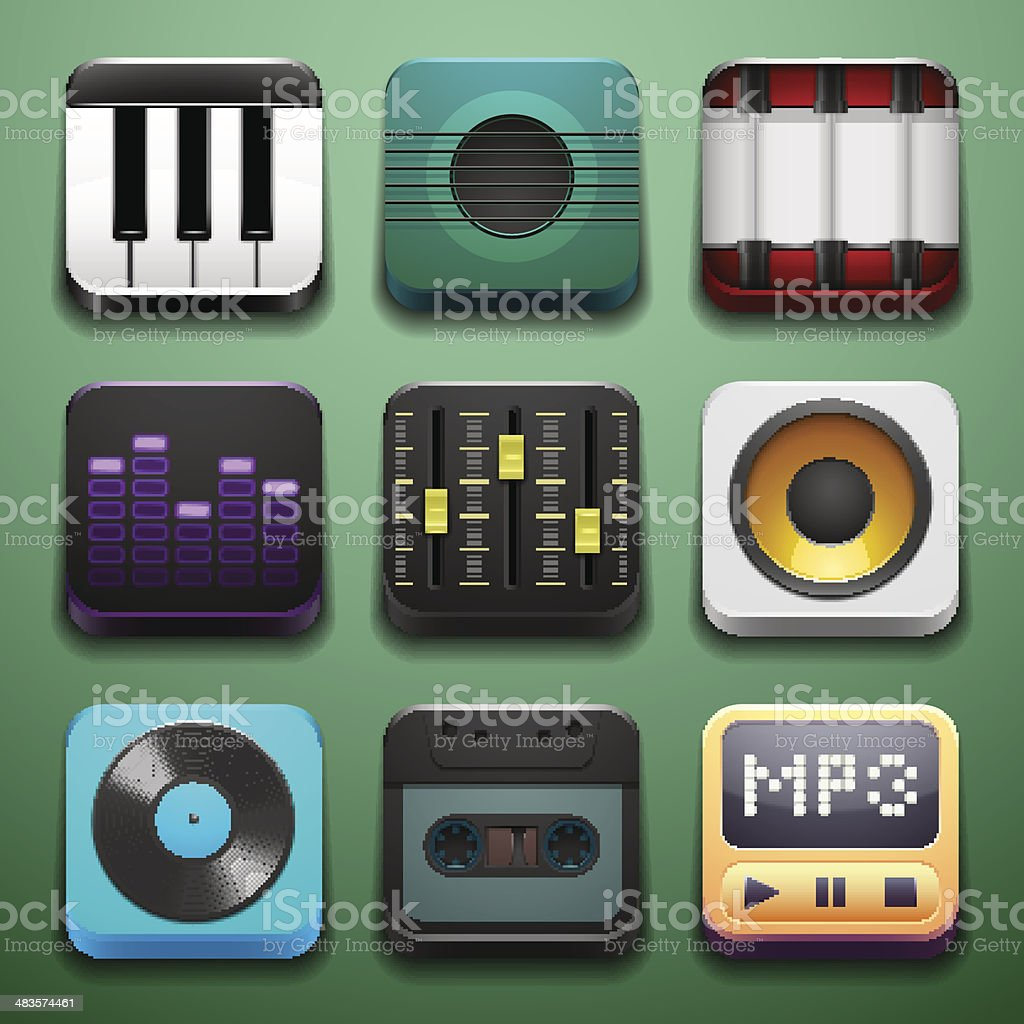 Music background for the app icons royalty-free stock vector art