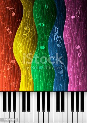 istock Music background illustration with piano keys 1199516957