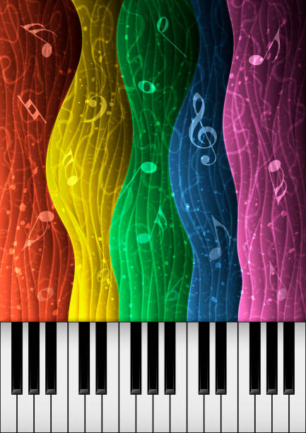 Music background illustration with piano keys vector art illustration