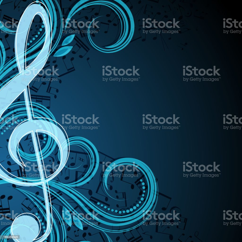 Music background template with clef and swirls vector art illustration