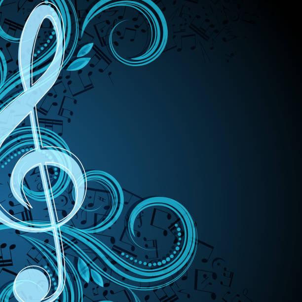 bildbanksillustrationer, clip art samt tecknat material och ikoner med music background template with clef and swirls - orkester