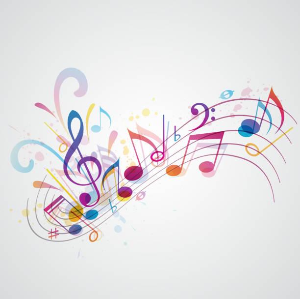musik im hintergrund - musiksymbole stock-grafiken, -clipart, -cartoons und -symbole