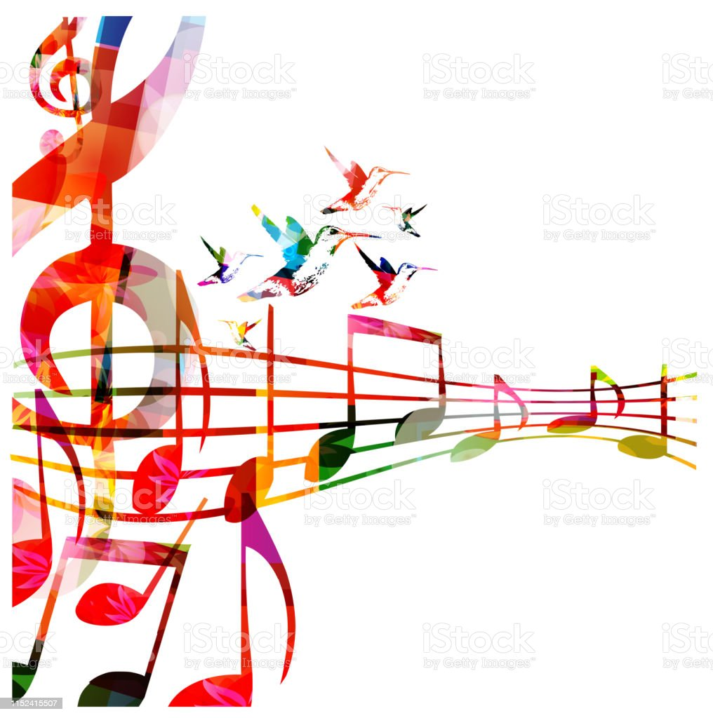 Music background with colorful G-clef and music notes vector...
