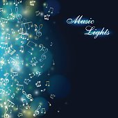 Music background. Abstract banner with colorful light effect and falling notes. Vector illustration