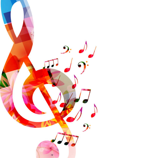 music background with colorful music notes and g-clef - nuta stock illustrations