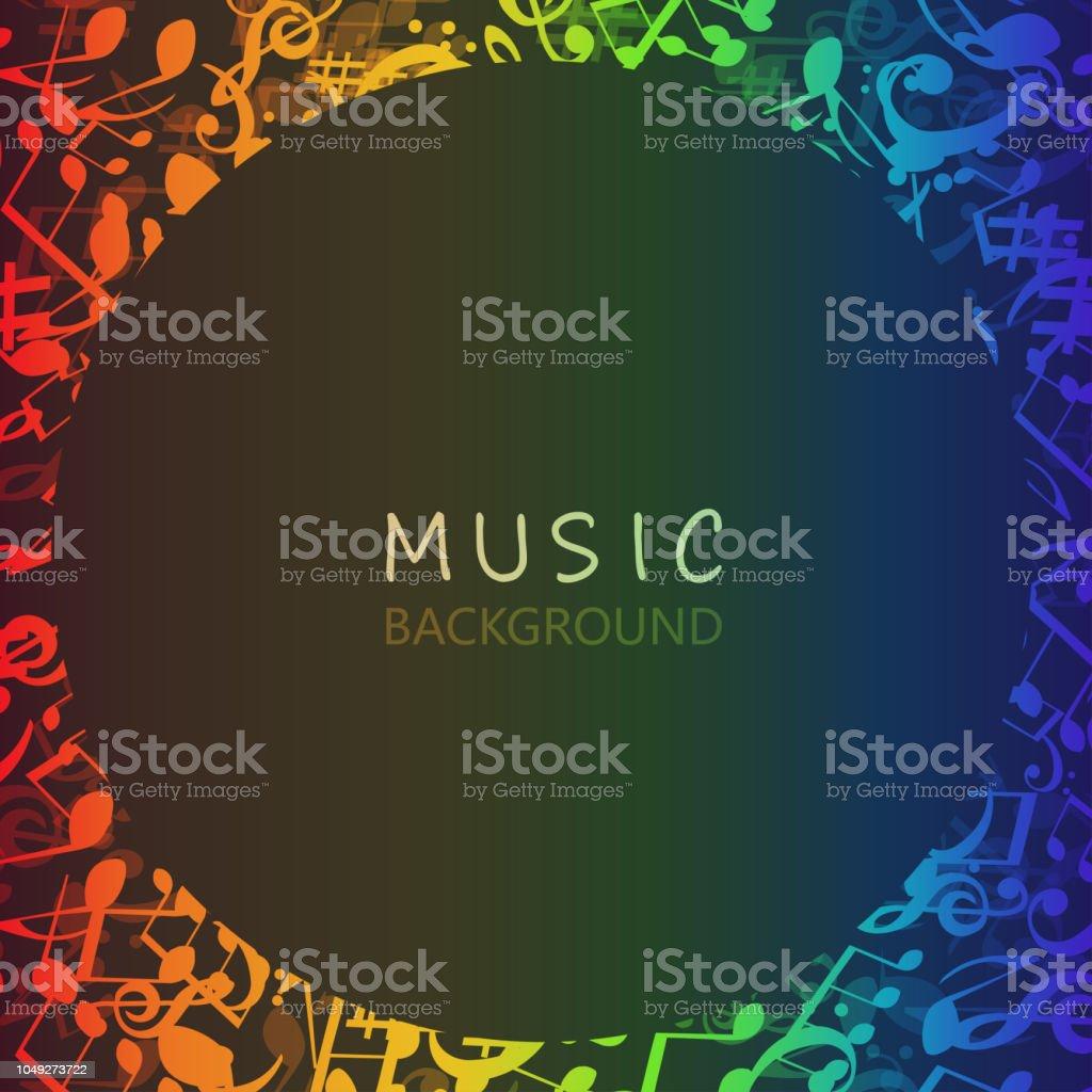 Renkli Müzik Notlar Ile Müzik Arka Plan Stok Vektör Sanatı Akustik