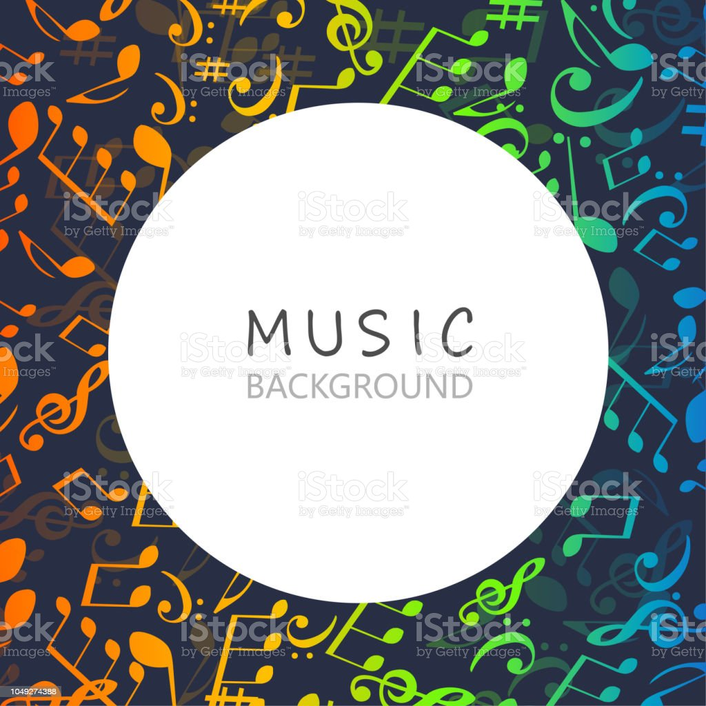 Music background with colorful music notes and G-clef vector...