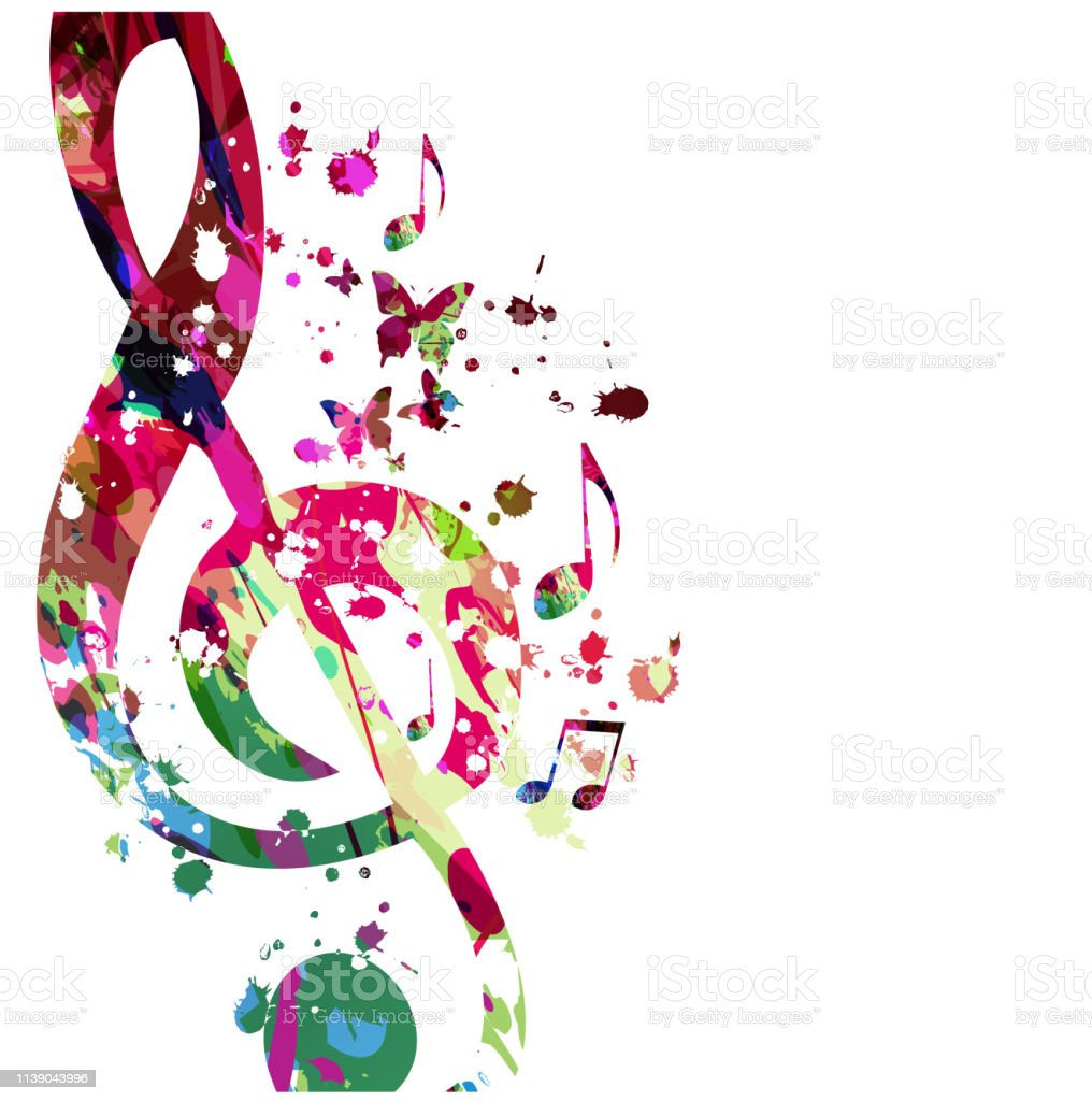Music background with colorful music notes vector illustration...
