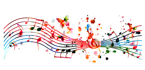 Music Background With Colorful Music Notes Stock ...