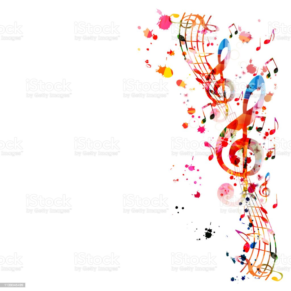 Music background with colorful music notes - arte vettoriale royalty-free di Arcobaleno