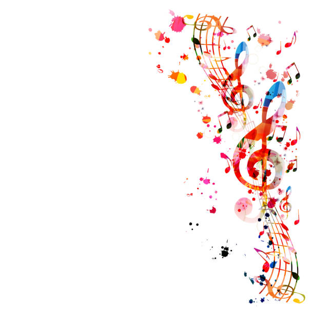 tło muzyczne z kolorowymi nutami muzycznymi - muzyka stock illustrations