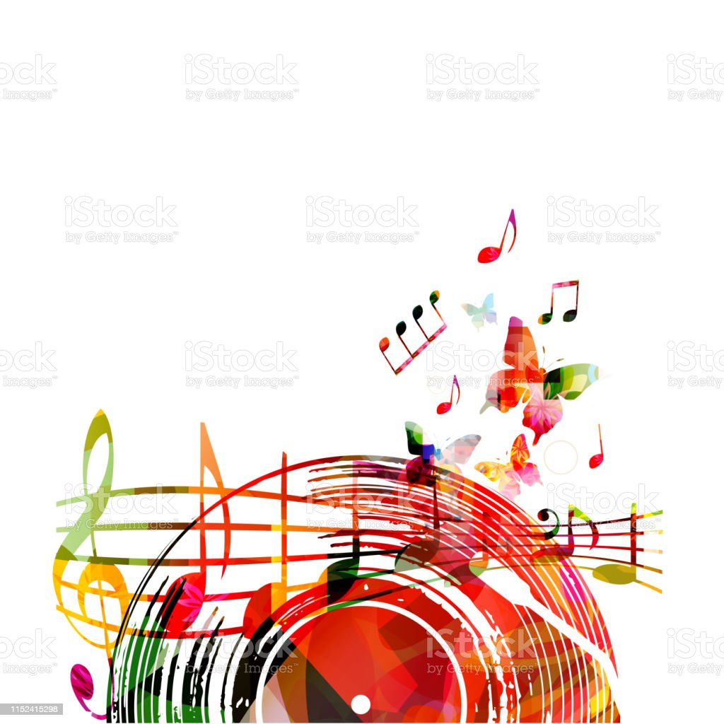 Music background with colorful vinyl record and music notes vector...