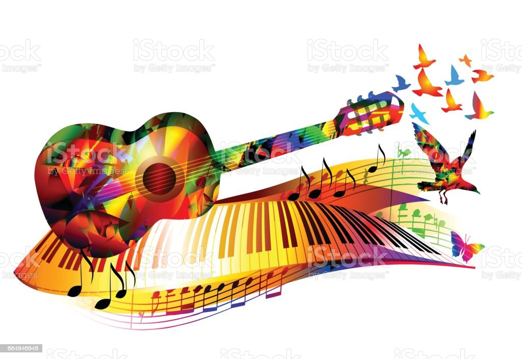Color Notes Background 01 Vector Free Download: Music Background With Guitar Piano Music Notes And Birds